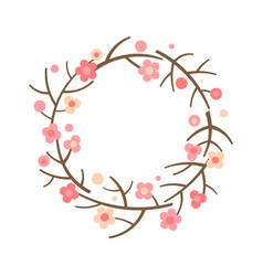 Decorative spring wreath frame from blooming vector