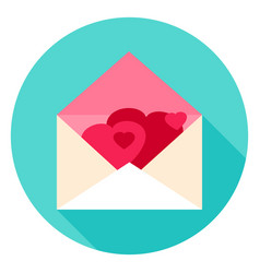 Envelope with hearts circle icon vector