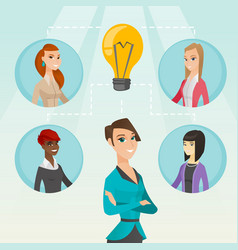 Businesswomen discussing business ideas vector