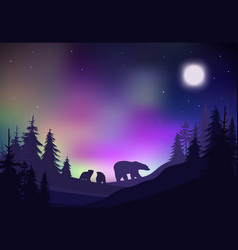 Colorful night winter forest landscape template vector