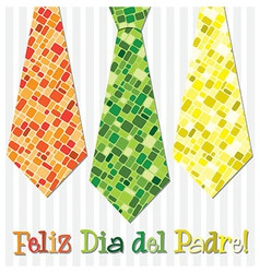 Bright mosaic spanish happy fathers day neck tie vector