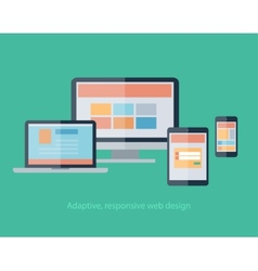 Responsive web design on devices notebook monitor vector