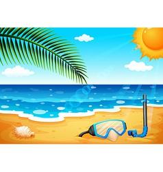 A beach with a shinning sun vector image