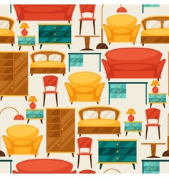 Interior seamless pattern with furniture in retro vector