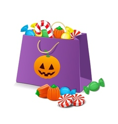 Halloween candies in a bag vector