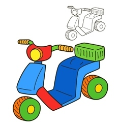 Scooter coloring book page vector