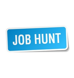 Job hunt blue square sticker isolated on white vector