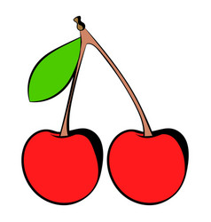 A couple of red cherries icon icon cartoon vector