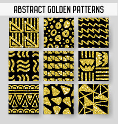Abstract gold glitter hand drawn seamless patterns vector