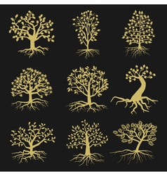Black tree silhouettes with leaves and roots vector image vector image