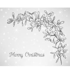 Christmas mistletoe doodle vector