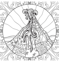 Coloring page with volcano vector