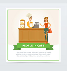 confectionery shop with bartender serving female vector image vector image