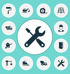 construction icons set collection of paint roller vector image vector image