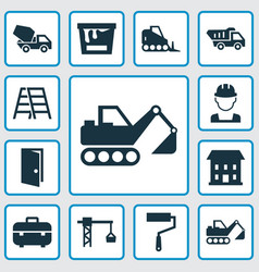 Construction icons set collection of truck paint vector