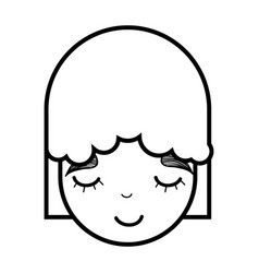 Contour face happy beautiful girl vector