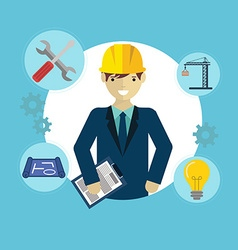 Engineer construction industrial factory vector image