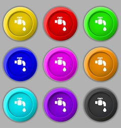 Faucet icon sign symbol on nine round colourful vector