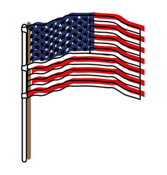 Flag united states of america waving in flagpole vector