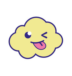 Full color funny and cute cloud kawaii weather vector