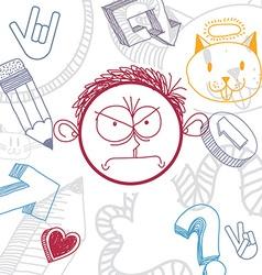 Hand drawn cartoon angry boy education theme vector