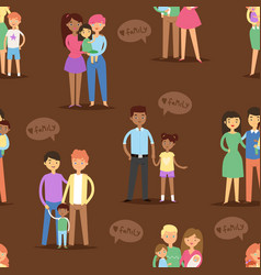 happy different family couples characters mother vector image