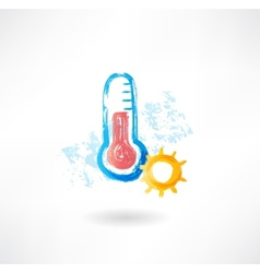 hot thermometer grunge icon vector image