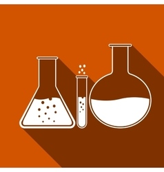 Laboratory glassware icon with long shadow vector