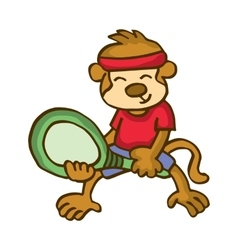 Monkey playing badminton happy cartoon vector
