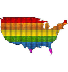 Mosaic map of usa in colors of lgbt vector