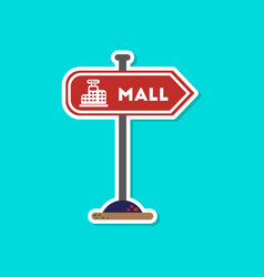 Paper sticker on stylish background mall sign vector