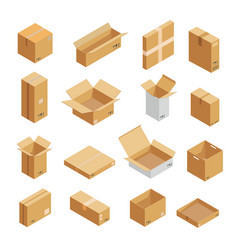Parcel packaging box icons set isometric style vector