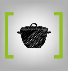 saucepan simple sign black scribble icon vector image