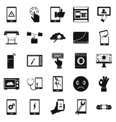 screen icons set simple style vector image