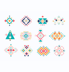 Set of ethno tribal aztec symbols colorful vector