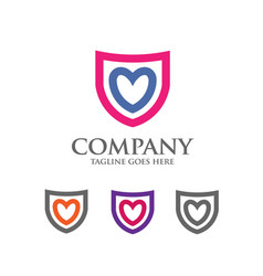 Shield logo with love heart abstract logo vector