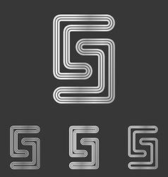 Silver line s logo design set vector