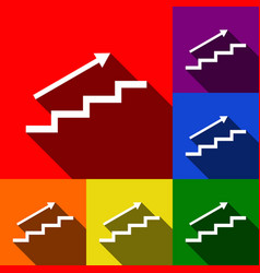 Stair with arrow set of icons with flat vector