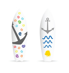 Surfboard with anchor on it vector