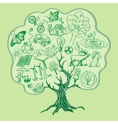Tree formed by Ecology Icons hand drawn style vector image vector image