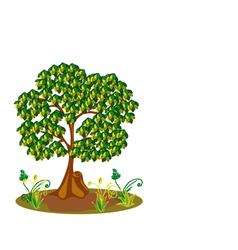 Tree with yellow and green leaves vector