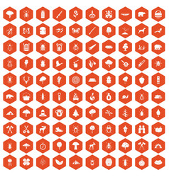 100 forest icons hexagon orange vector