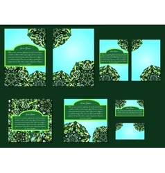 Green set of brochures flyers invitations and vector