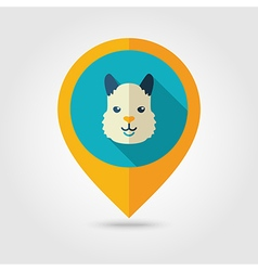 Lama flat pin map icon animal head symbol vector