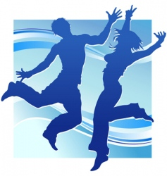Dancing people in blue vector