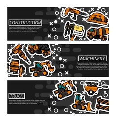 Set of horizontal banners construction machinery vector