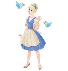 Cinderella singing with birds vector