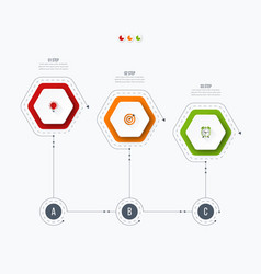 Infographics template 3 options with hexagon vector
