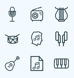 Audio outlines set collection of barrel stringed vector