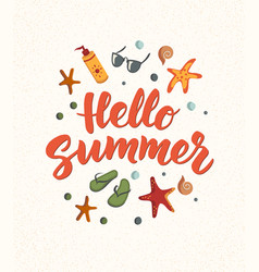 Hello summer text with beach elements sunscreen vector